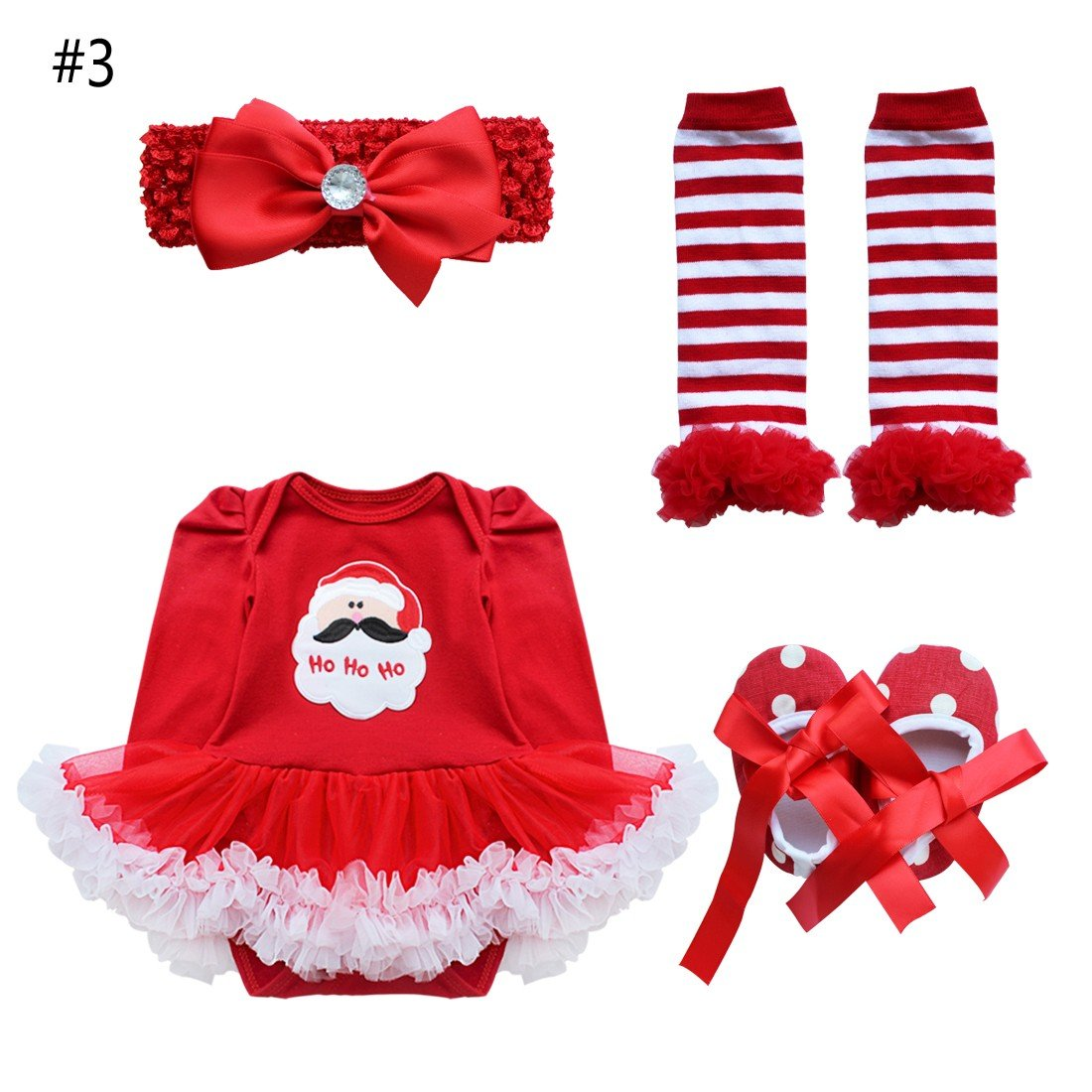 ACSUSS Baby Girls 4PCS Christmas Xmas Costumes Long Sleeves Romper with Headband Leg Warmer Shoes Outfits