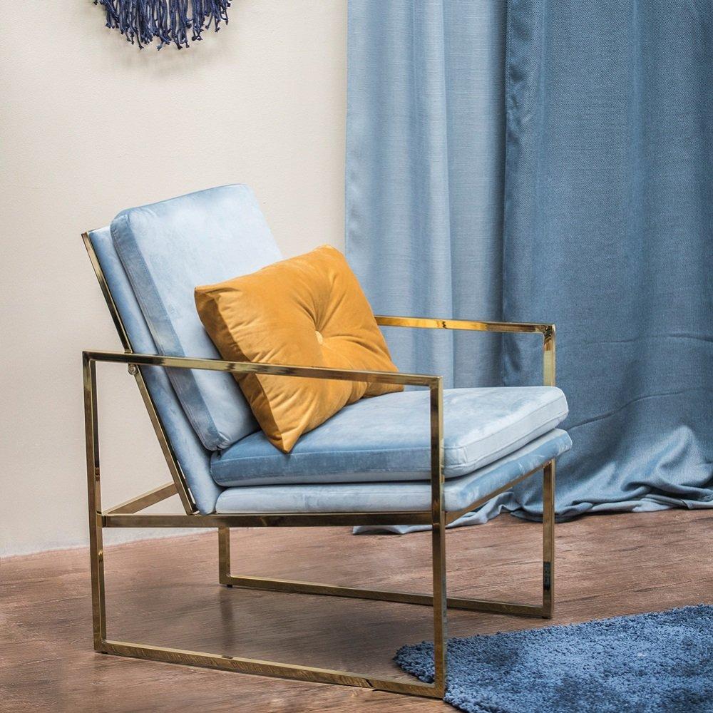 Mr.do Samt Sessel Stuhl Blau Hellblau Lounge Sessel, Kupfer blick ...