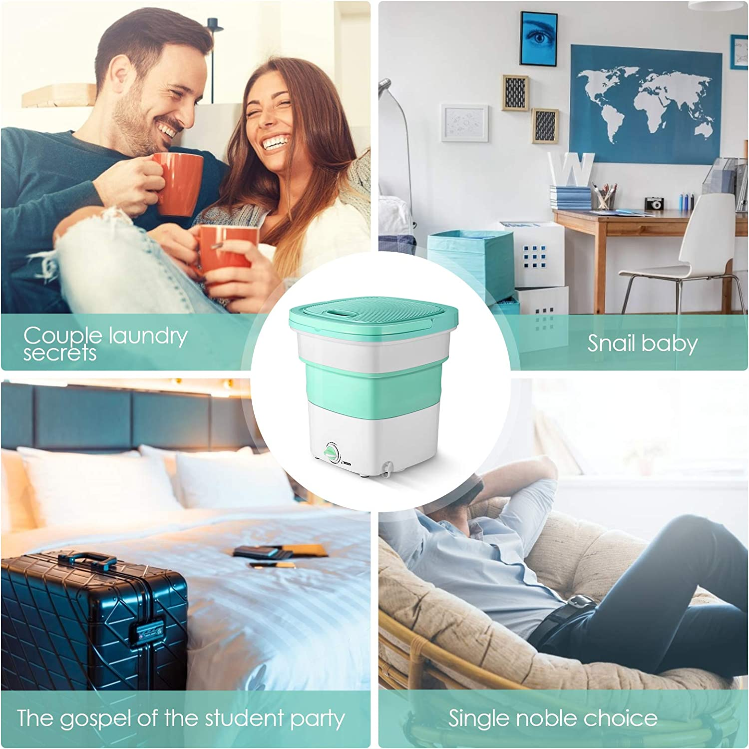 Camping Mini Compact Washer for Apartment Dorm SEAAN Portable Foldable Washing Machine,Electric Laundry Machine Travelling