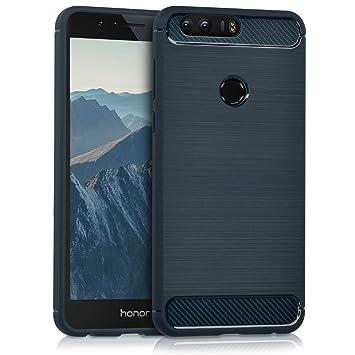 kwmobile Funda para Huawei Honor 8 / Honor 8 Premium - Carcasa de [TPU] para móvil y diseño de Carbono Cepillado en [Azul Oscuro]