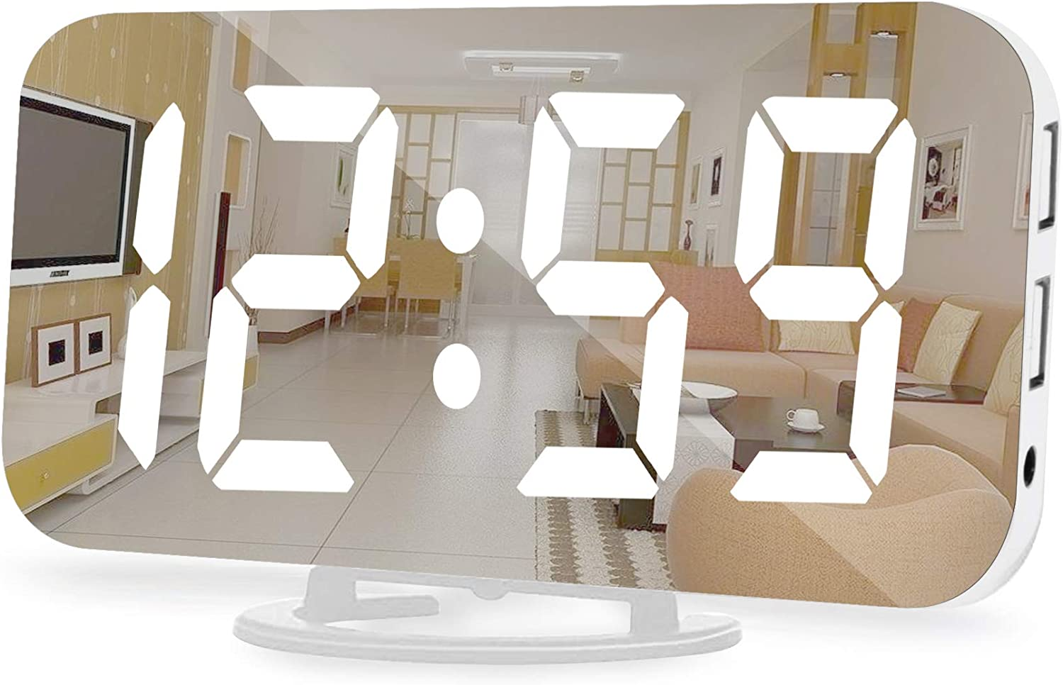 Digital Alarm Clock,6.5 Inch Large Display LED Mirror Electronic Clocks, with Snooze,12/24H,Dual USB Charging Ports, 3 Adjustable Brightness Suitable for Bedroom Home Office -White