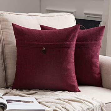 Astonishing Miulee Set Of 2 Linen Throw Pillow Covers Cushion Case Button Vintage Farmhouse Pillowcase For Couch Sofa Bed 20 X 20 Inch 50 X 50 Cm Cranberry Red Forskolin Free Trial Chair Design Images Forskolin Free Trialorg