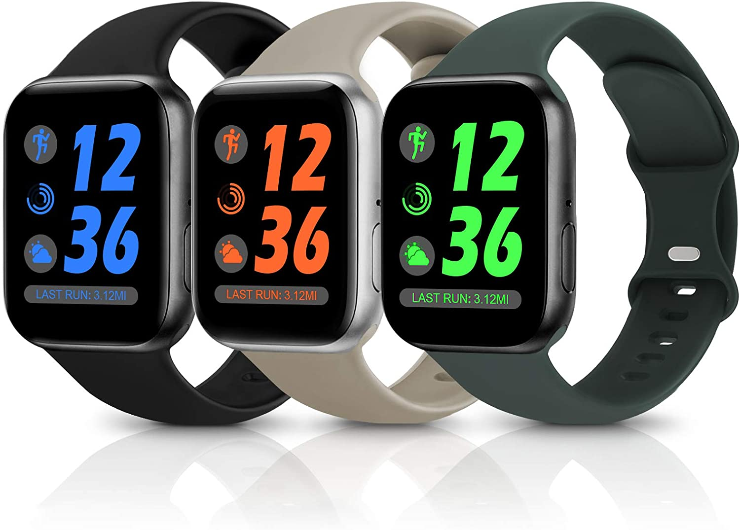 Sport Silicone Band Compatible with Apple Watch Bands 38mm 40mm 42mm 44mm,Soft Replacement Wristbands for iWatch Series 1/2/3/4/5/6/SE,Women Men,3 Pack(Black/Walnut/Olive Green,42mm/44mm-M/L)
