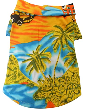 f34450ca2b Tangpan Hawaiian Beach Coconut Tree Print Dog Shirt Summer Camp Shirt  Clothes