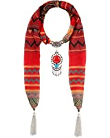 LERDU Women's Vintage Ethnic Jewelry Pendant Necklace Voile Pattern Fringe Scarf