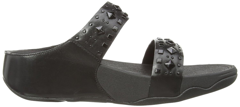 Black sandals asda - Fitflop Women S Biker Chic Slide Flat Sandals Amazon Co Uk Shoes Bags