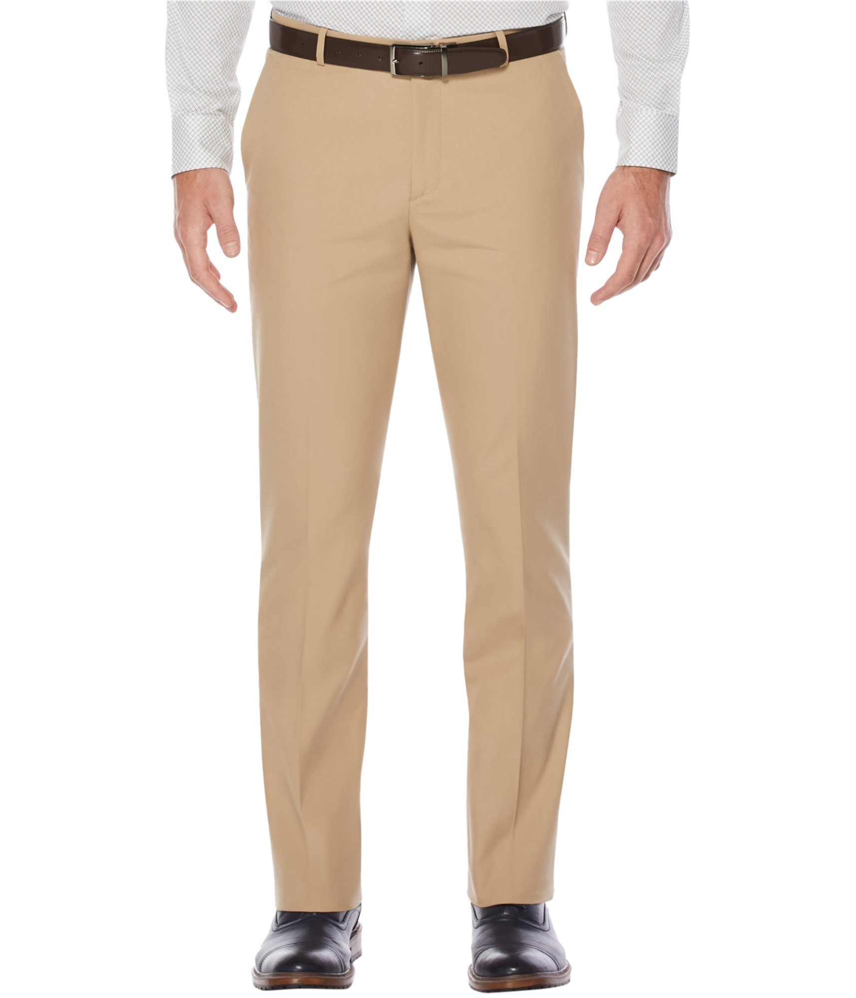 Perry Ellis Men's Slim Fit Travel Luxe Cotton Pant, Pale Khaki, 36W X 30L