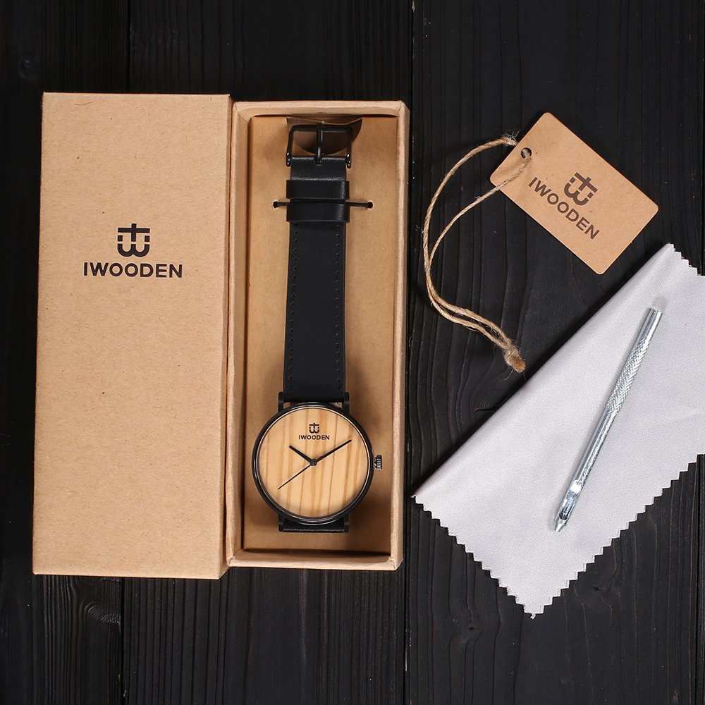 IWOODEN Wooden Watch for Men Wrist Watch Wooden Wristwatch with Leather Strap Natural Bamboo Wood Watch Gift for Groomsmen by IWOODEN (Image #7)