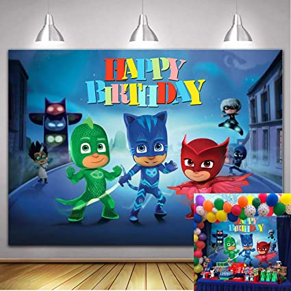 Cartoon Super City Themed Photography Backdrop PJ Masks Hero for Baby Boys Happy Birthday Party Decoration Dessert Table Baby Shower Supplies Photo ...