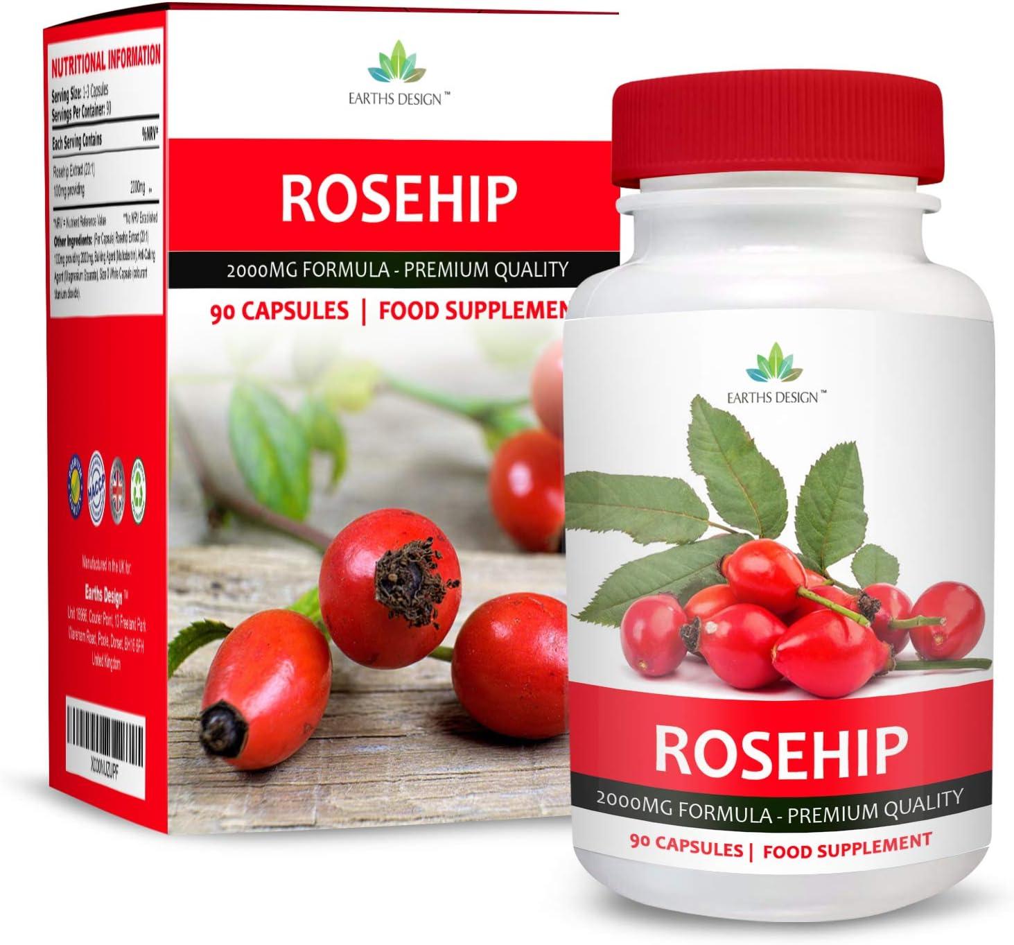 Rosa Mosqueta - 2000 mg - Extracto de Alta Concentración 20:1-90 Cápsulas (Suministro Para 3 Meses) de Earths Design: Amazon.es: Salud y cuidado personal