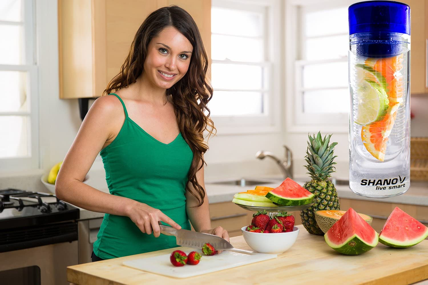 Infusion Water Bottle Enhances Fruit Water Flavor - Our Cool Water Bottles Blue Great Birthday Gifts for Her Better Health with Fruit and Water SHANO Live Smart Fruit Infused Water Bottle