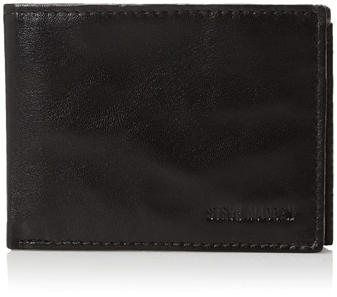 ce12781923 Steve Madden Men's Leather RFID Blocking Wallet with Extra Capacity ID  Window, Black, One