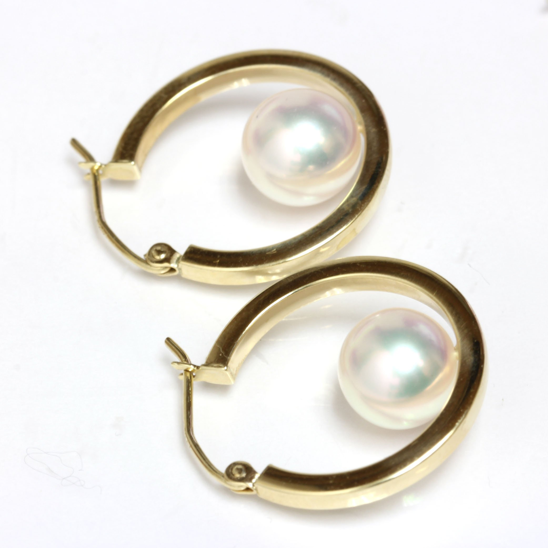 14k Yellow Gold Cultured Saltwater Akoya Pearl Dangle Hoop earrings - AAA and AAA Flawless (7.0-7.5mm AAA) by Seven Seas Pearls (Image #2)