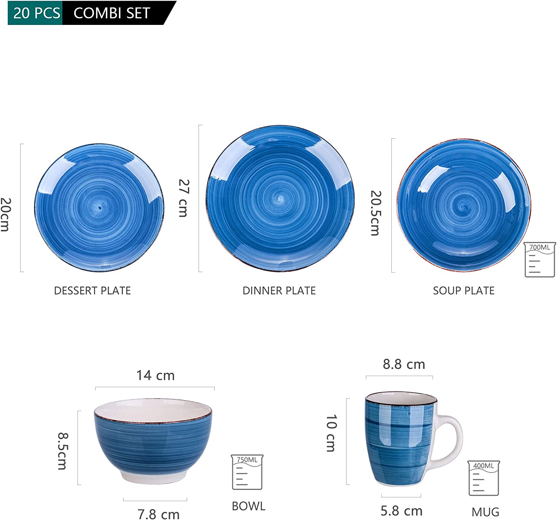vancasso Assiette Creuses en Porcelaine 4 Pi/èces- 700 ML Assiette /à Soupe Saladier S/érie Bella