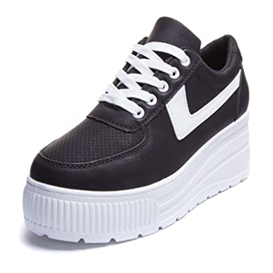 MForshop Scarpe Donna Ginnastica Sneakers Sportive Casual Platform Zeppa  Alta Moda HY1802 - Nero d9aa94b3b91