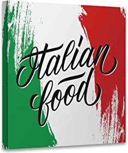Hitecera Italian Food Handwritten Inscription.Creative tpograph for Restaurant menu,Canvas Print Painting Cafe Apartment Decor 12x12 Inches