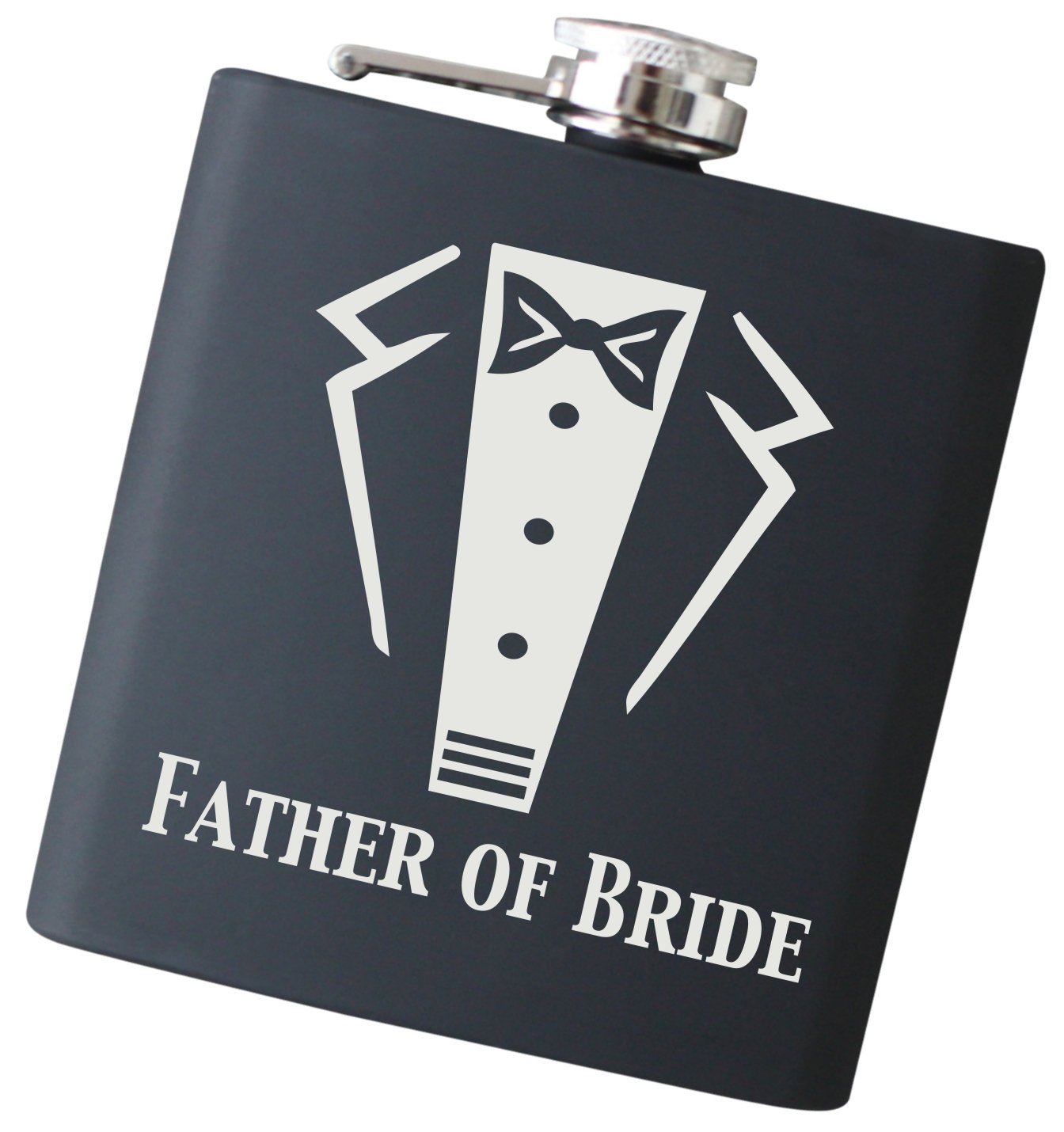 Engraved Best Man Tuxedo 6 oz Flask - Will You Be My Best Man? Liquor Hip Flask (Best Man) Frederick Engraving