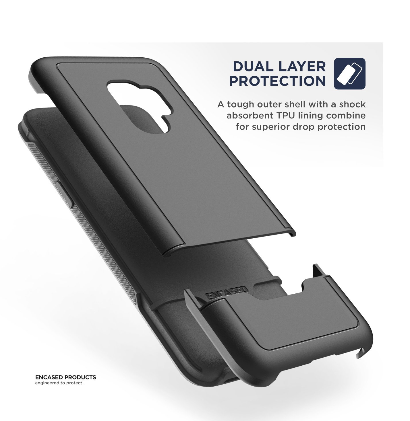 Amazon Encased Galaxy S9 Plus Tough Case Black Ultra Durable Full Body Protective Cover Heavy Duty Military Grade Excellent Drop Protection Samsung