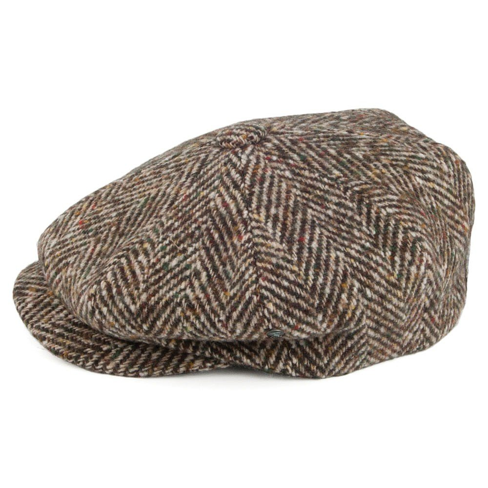 34b3a3d75 City Sport Donegal Tweed Herringbone Fleck Newsboy Cap - Brown-Sage