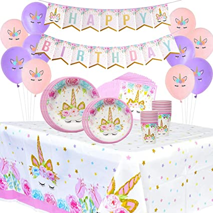 Kreatwow Unicorn Party Supplies Set For Girls 1st Birthday Baby Shower Pink Magical Latex Balloons