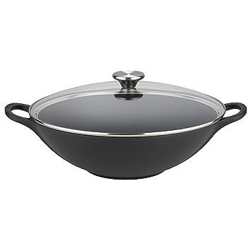 Le Creuset - Wok de hierro colado esmaltado con tapa de cristal, 32 cm, color negro: Amazon.es: Hogar
