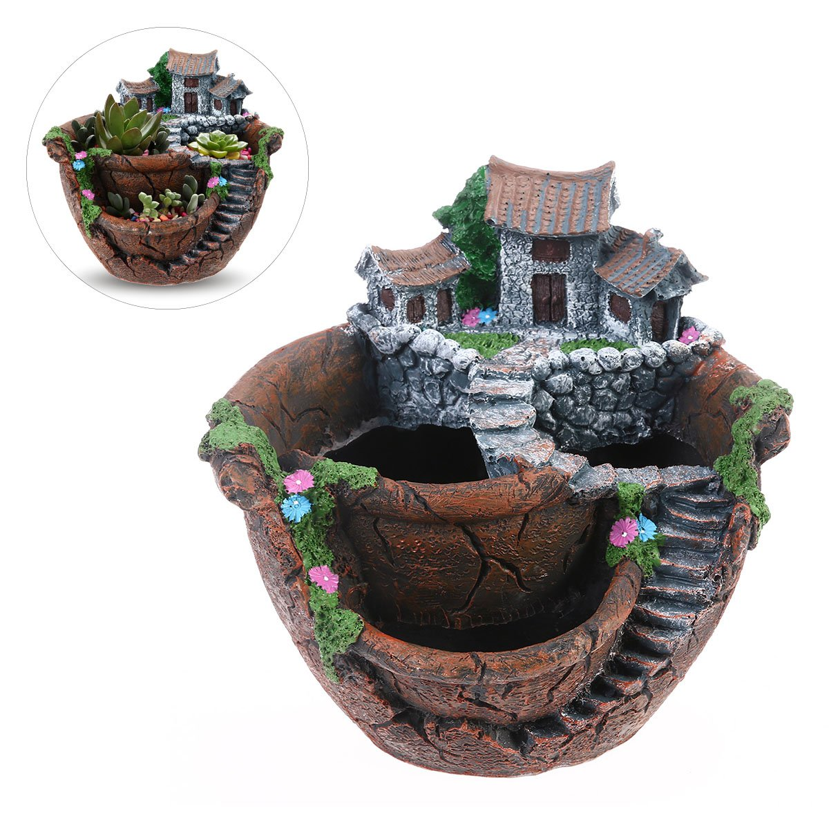 BESTOYARD Flower Plants Pot Creative Plants Pot Mini Fairy Garden and Sweet House for Decoration