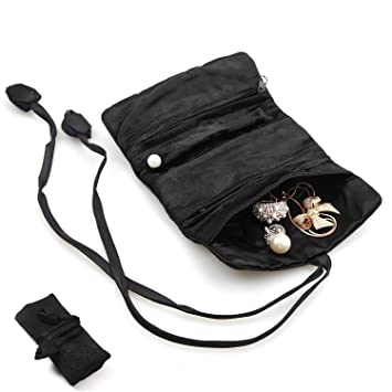 Travel Jewelry Roll Up Case KingOfHeartsTM Silk Rolling Pouch for