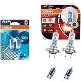 Osram Nightbreaker Plus H7 Duo-Pack der 2. Generation 64210NBP-HCB + 2 Stück Osram 5W5 2825HCBI-02B Halogen Cool Blue Intense Standlichtern