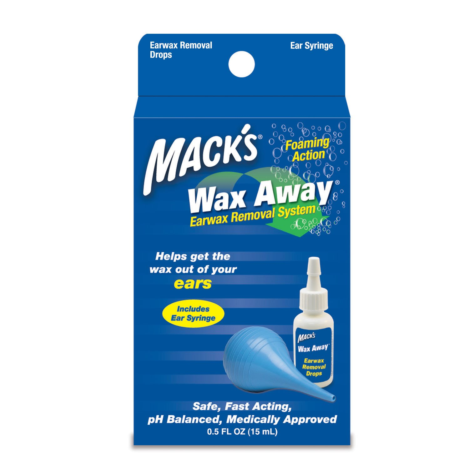 Mack's Wax Away Earwax Removal System - 0.5 FL OZ Ear Drops with Ear Syringe Mack's B004CK5M4S
