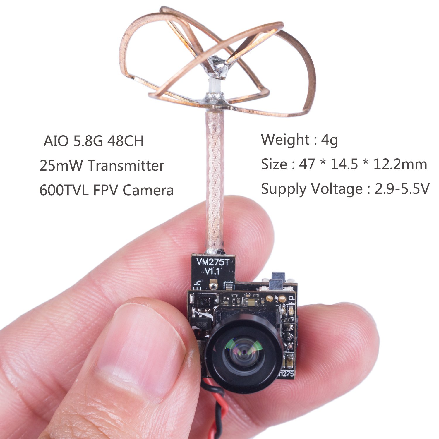 SunFounder SF-C02 Micro FPV Camera with 5.8G 48CH 25mW Transmitter and Clover Leaf Antenna for Blade Inductrix Quadcopter Multiroter Aircraft Model