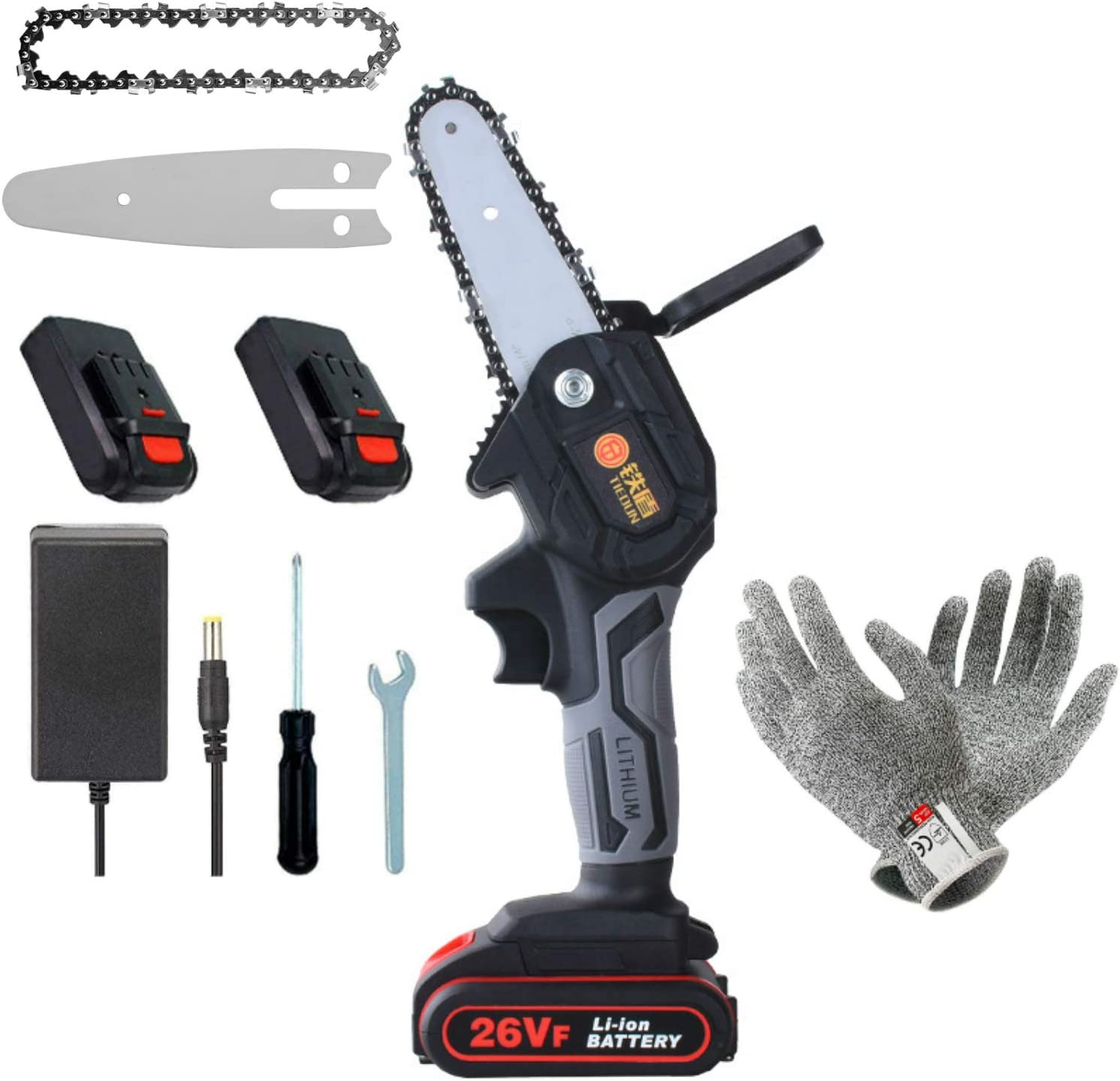 Mini motosierra eléctrica de 4 pulgadas, 2 baterías y motor sin escobillas, sierra de mano eléctrica de 26 V con un peso de 0,7 kg, un par de guantes anticortes