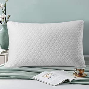 COTTONHOUSE Shredded Memory Foam Bed Pillow,Premium Adjustable Loft Pillow,Hypoallergenic Cooling Bamboo Washable Zippered Cover,for Side,Stomach and Back Sleepers,Standard