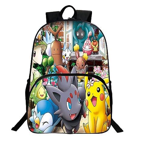Ddong Unisex Bolsas Escolares Pokemon Impresión Daypack Mochilas de ...