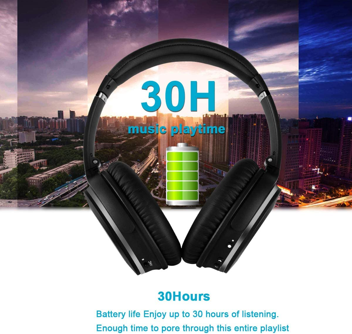 Bluetooth Wireless Headphones Over Ear Noise Cancelling Foldable Headset HI-FI Stereo Superior Deep Bass Headphones Comfortable Protein Earpads 30Hrs Playtime with Mic for PC Cell Phone