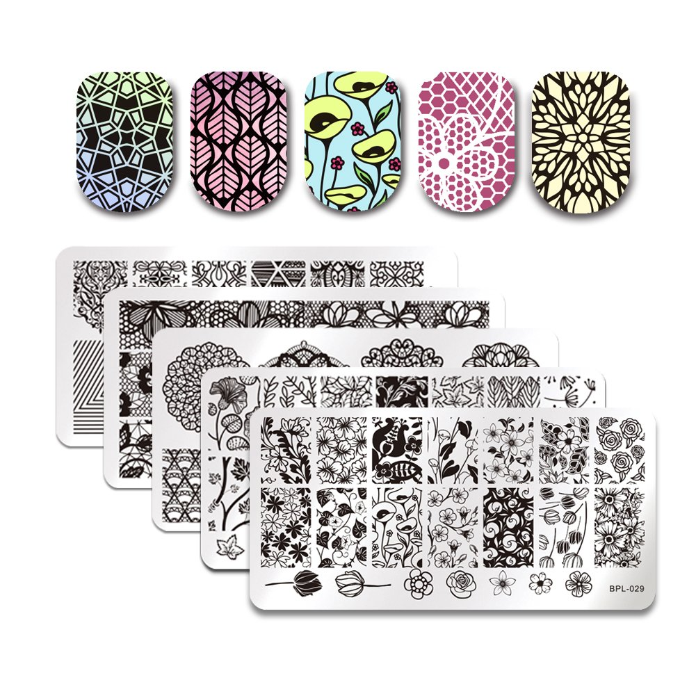 Born Pretty 5Pcs Nail Art Stamp Stamping Template Image Plates BPL026-030