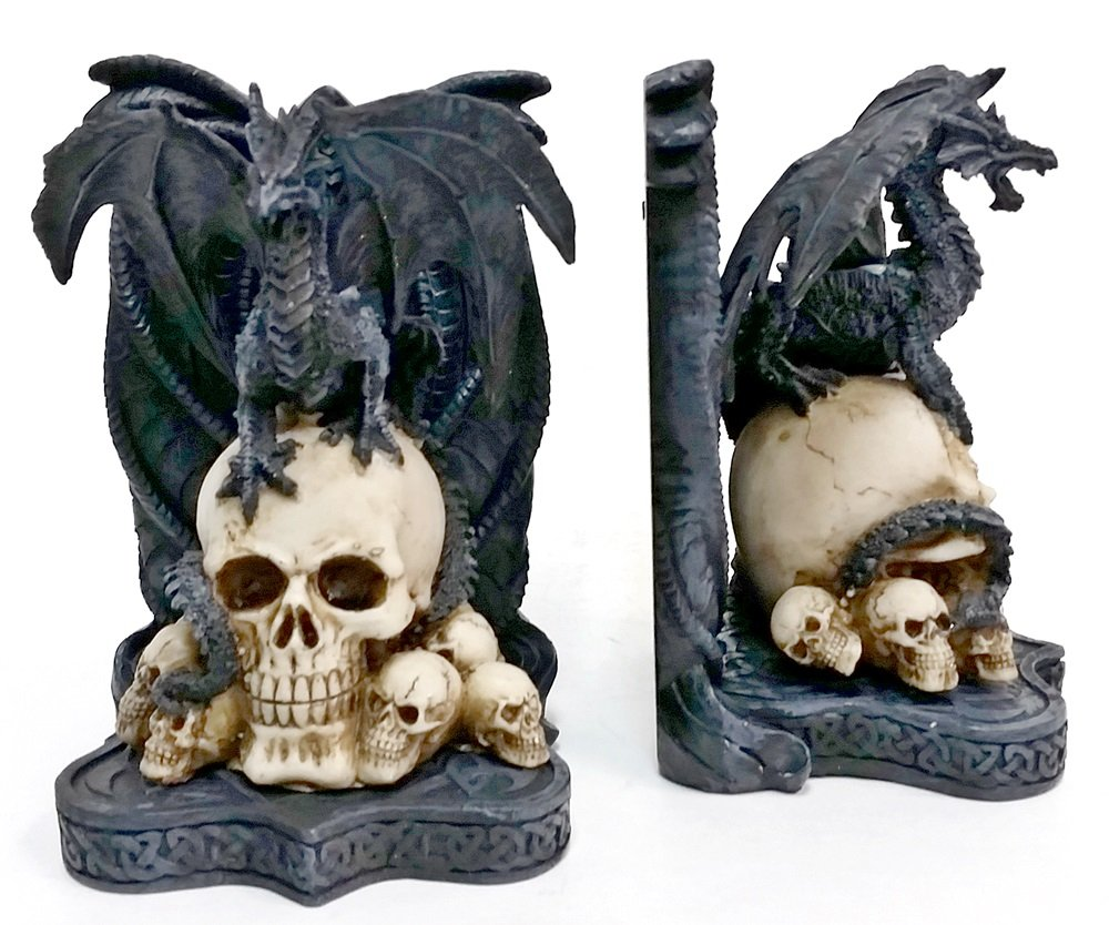 Bellaa Decorative Bookends Dragon Skull Decor - Big Heavy