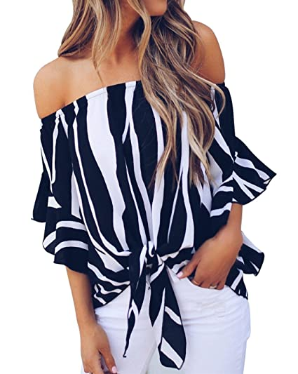 94de6b88d3e330 AEMOOEE Women Summer Striped 3 4 Bell Sleeve Off The Shoulder T Shirt Tops  Blouse