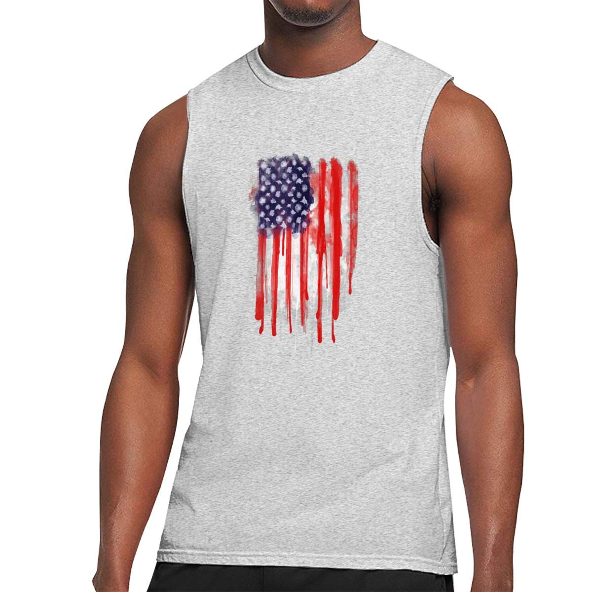 American Spatter Flag Sleeveless Tanks Top Shirts Fit Mens
