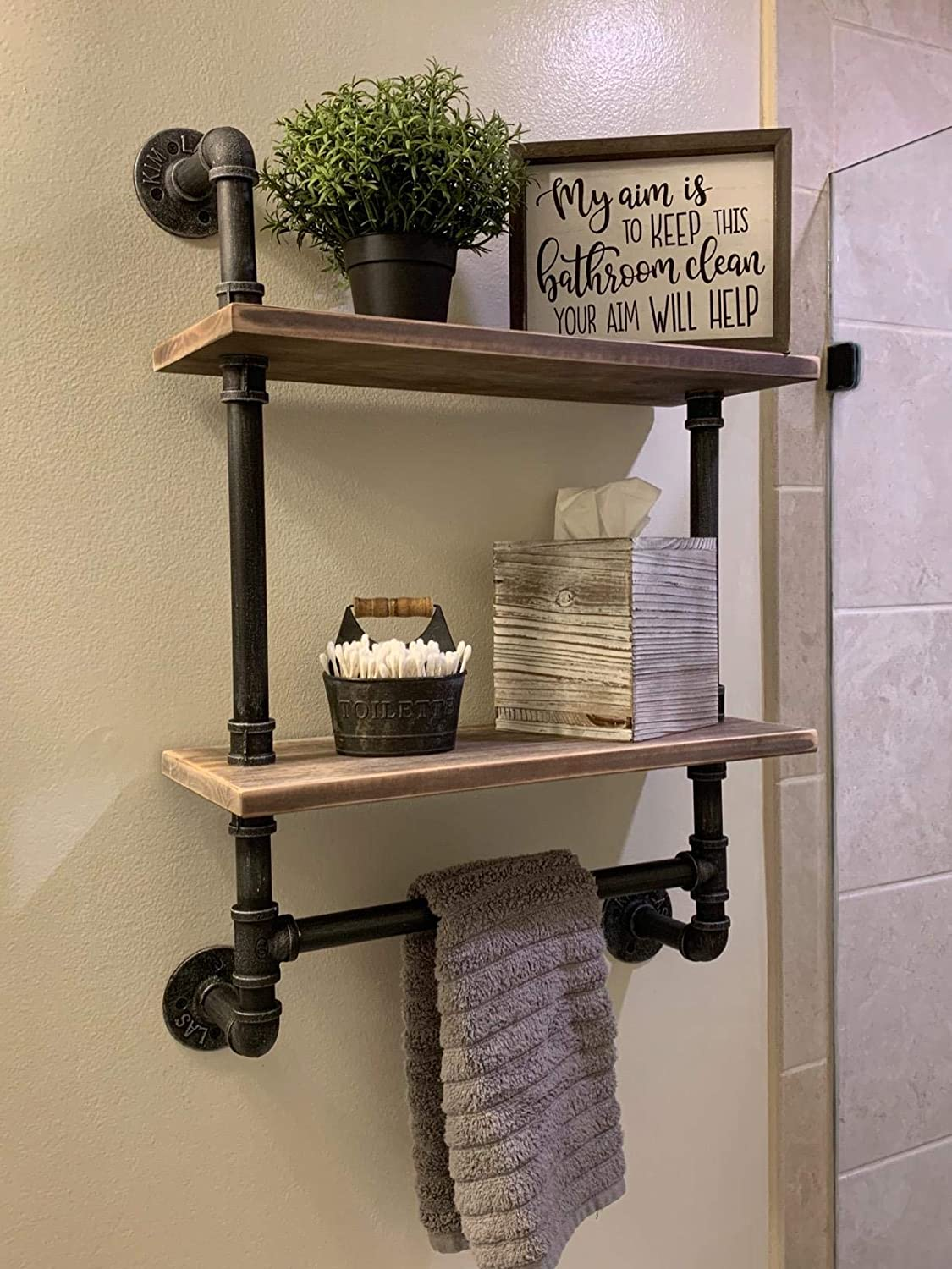 Amazon Com Industrial Pipe Bathroom Shelves Wall Mounted 2 Shelf Rustic Pipe Shelving Wood Shelf With Towel Bar Pipe Floating Shelves Towel Holder Kitchen Dining