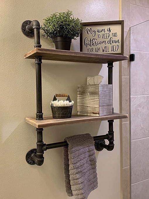 Industrial Pipe Bathroom Shelves Wall Mounted 2 Shelfrustic Pipe Shelving Wood Shelf With Towel Barpipe Floating Shelves Towel Holder
