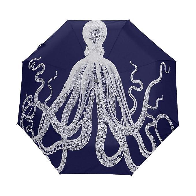 yoshop Auto plegable paraguas, elegante pulpo Kraken Octopi arte automático resistente al viento lluvia paraguas compacto plegable sombrilla: Amazon.es: ...