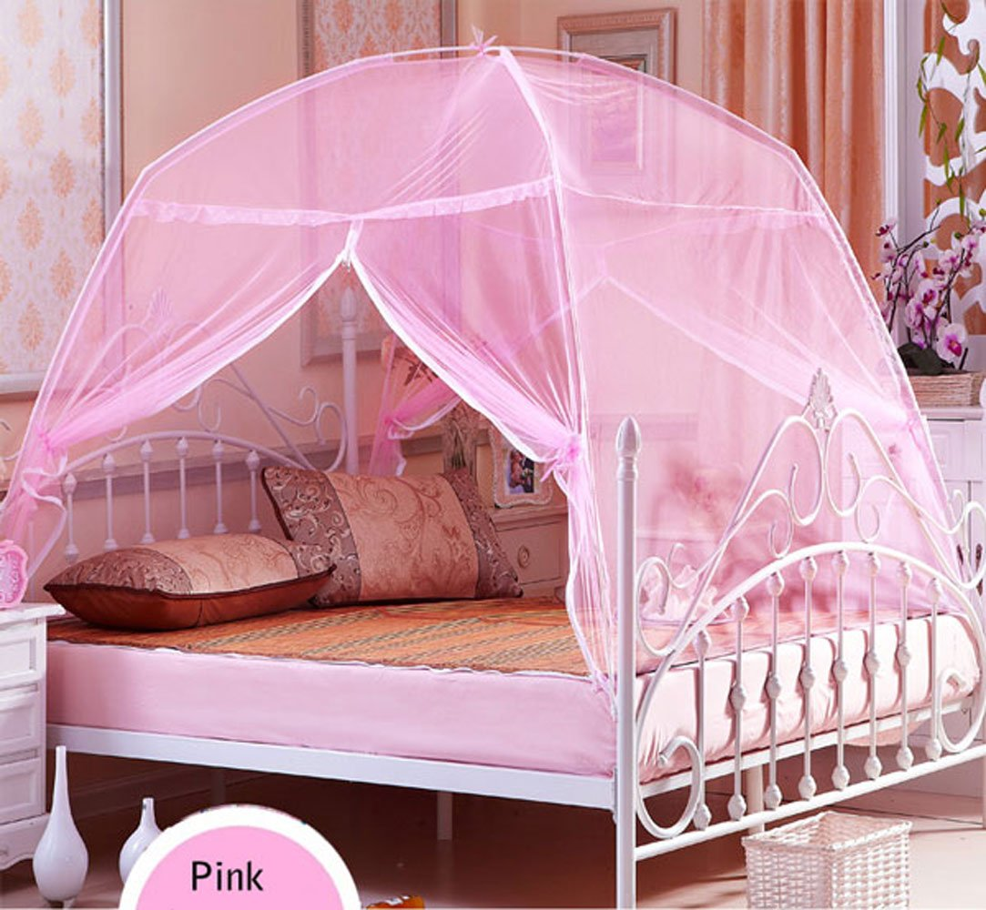 CdyBox Foldable Baby Adult Double Zipper Door Sleeping Yurt Mosquito Net Bed Canopy with Stand (L, Pink)