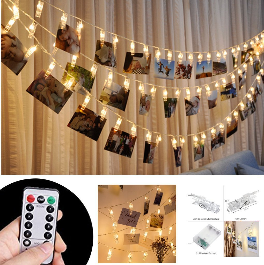 Ablest Set of 40 LED Photo Clip Clothespin Fairy String Lights Warm White For Photos Cards and Artwork