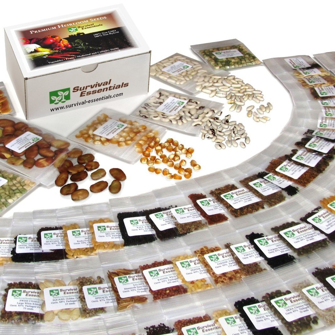Survival Essentials 135 Variety Premium Heirloom Non Hybrid Non GMO Seed Bank - 23,335+ Seeds - All In One Super Value Pak…Veggies, Fruits, Medicinal/Culinary Herbs - Plus 9 FREE Rare Tomato Varieties.