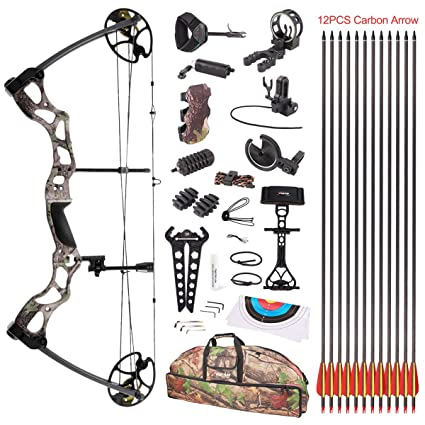 """Review Leader Accessories Compound Bow 50-70lbs 25"""" - 31"""" Archery Hunting Equipment with Max Speed 310fps, right handed"""