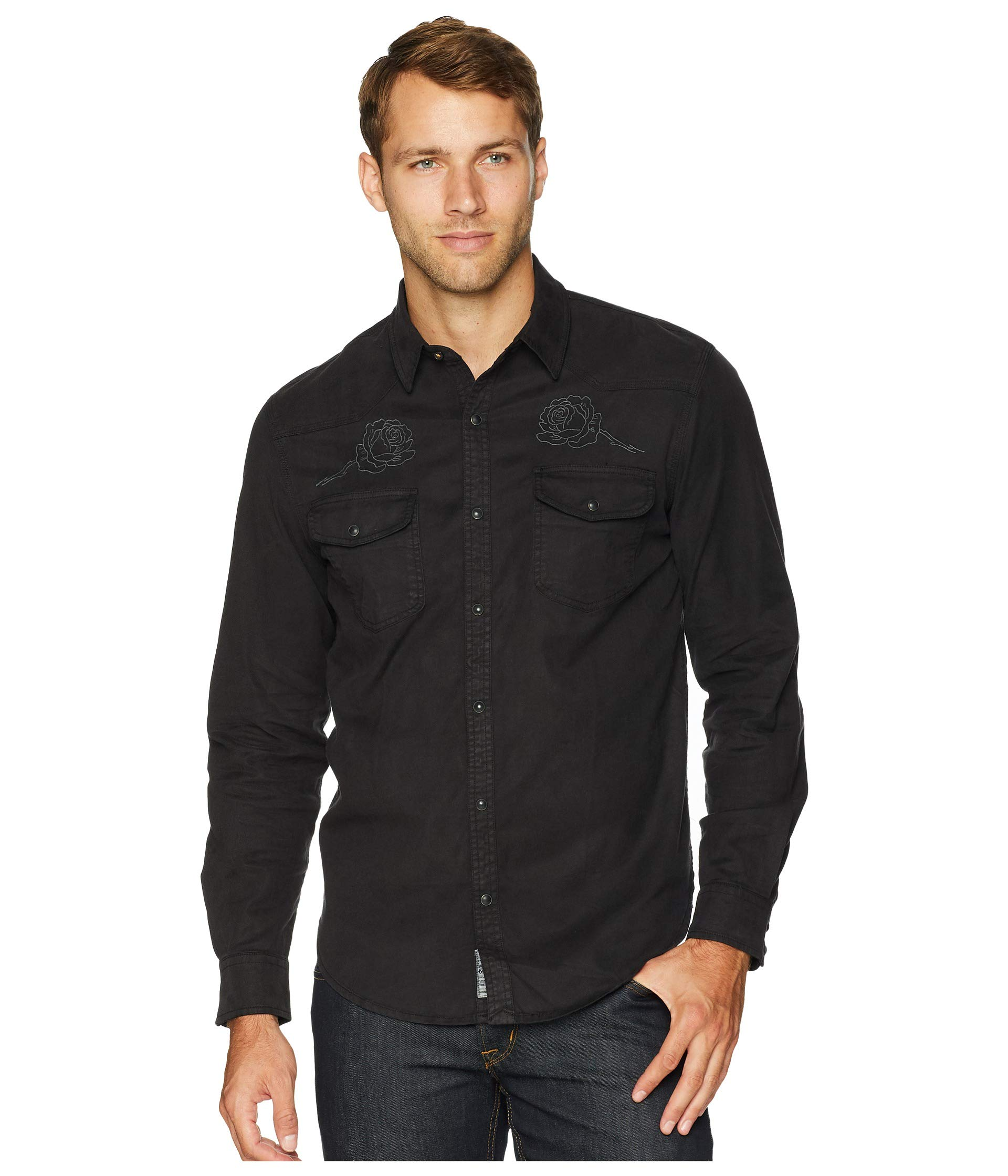 Lucky Brand Men's Casual Long Sleeve Embroidered Button Down Western Shirt, Black, M