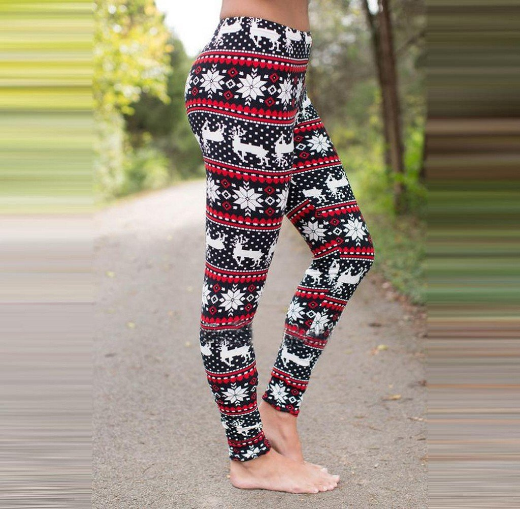 43209db6e5 Tongshi Mujeres Dama Skinny Navidad Alce impresión elástico Skinny  Pantalones Leggins Slim  Amazon.es  Deportes y aire libre
