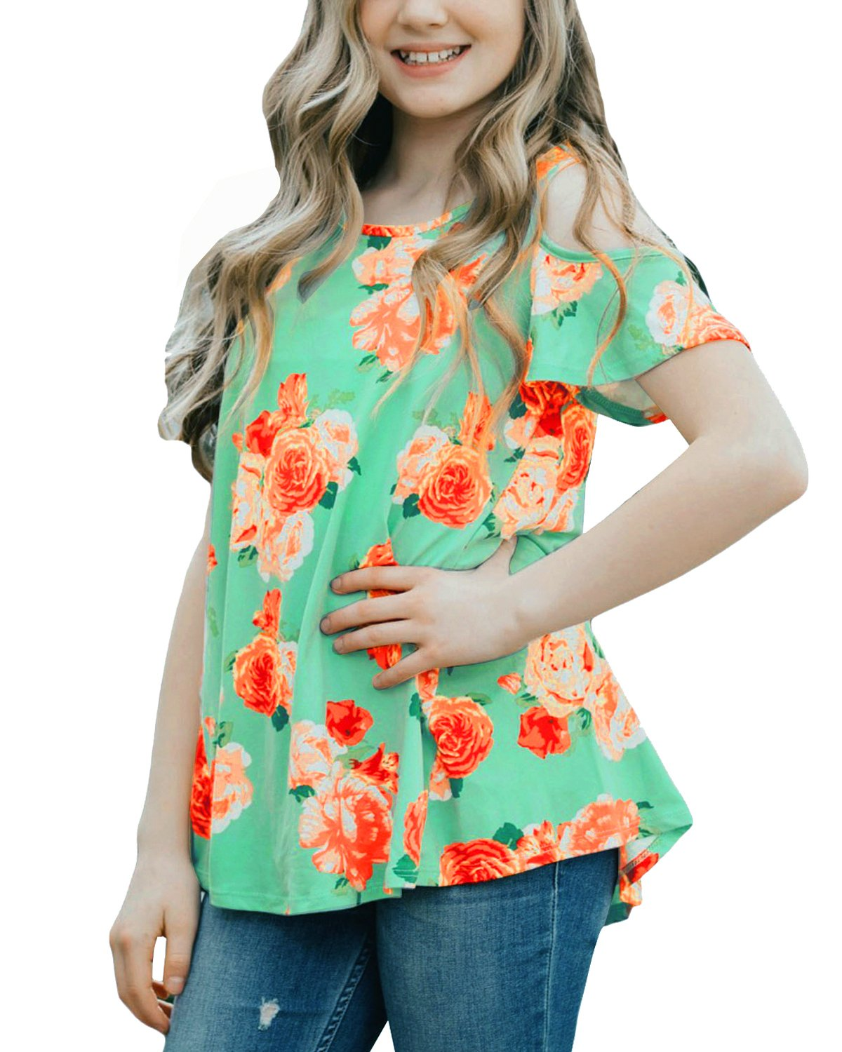 CHARMCZ Girls Short Sleeve T Shirt Floral Print Summer Fashion Cut Out Shoulder Kids Casual Loose Tunic Tops 4-13Y (A Green Flower, M (6-7Y))