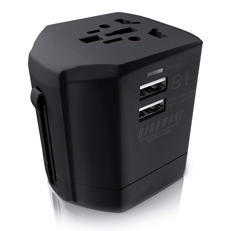 Bearware - Adattatore di rete da viaggio universale + Caricabatterie USB per Samartphone eTablet   All in one   Caricatore a 2 Prese USB 2500mA   Per oltre 140 paesi come UE UK USA AUST