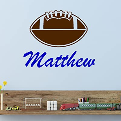 Football with Personalized Name Wall Decal - Two Color